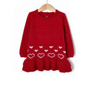 Φόρεμα Πλεκτό Κόκκινο με Lurex και Καρδιές για Κορίτσι