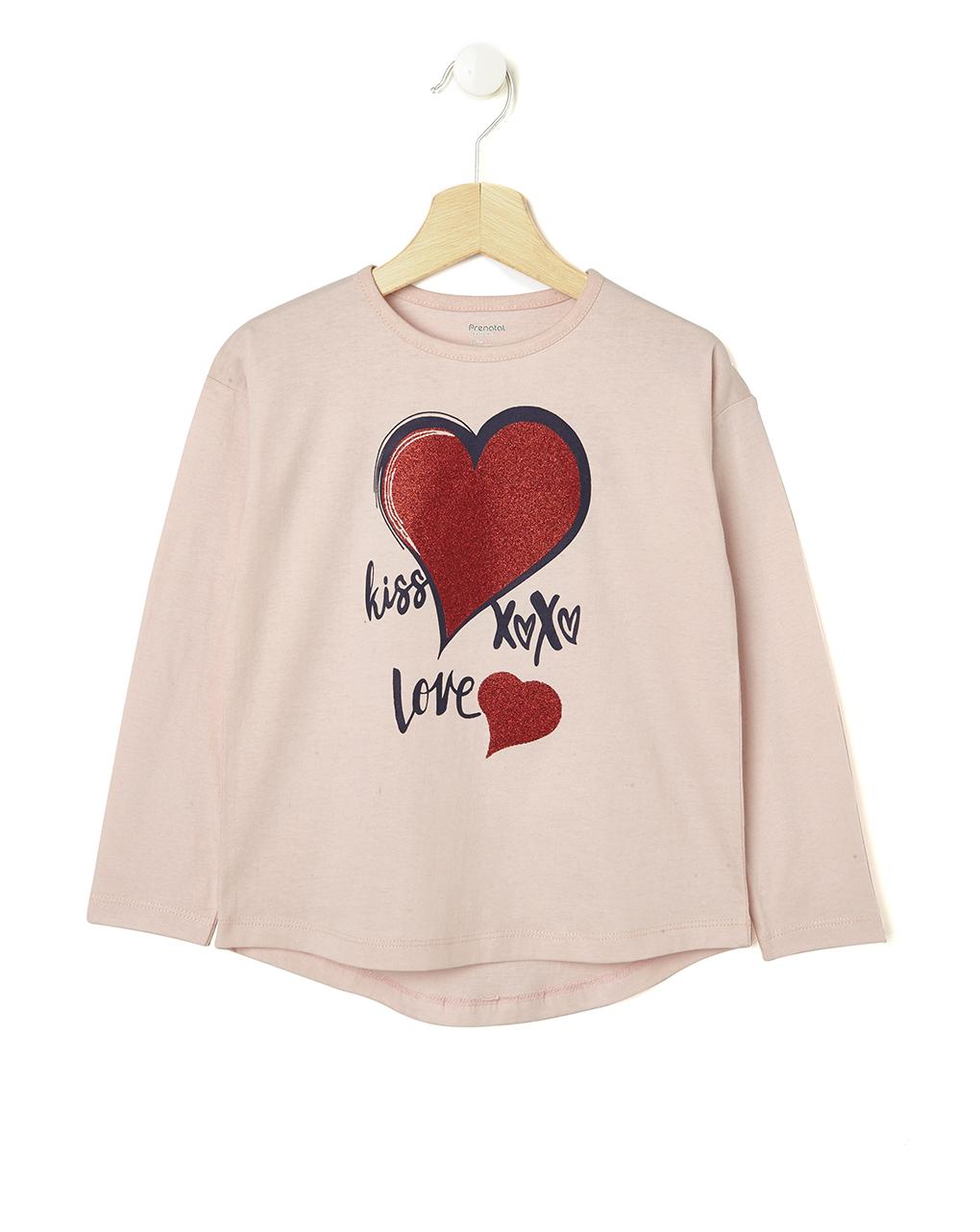 Μπλούζα Μακρυμάνικη Jersey με Στάμπα Ροζ για Κορίτσι