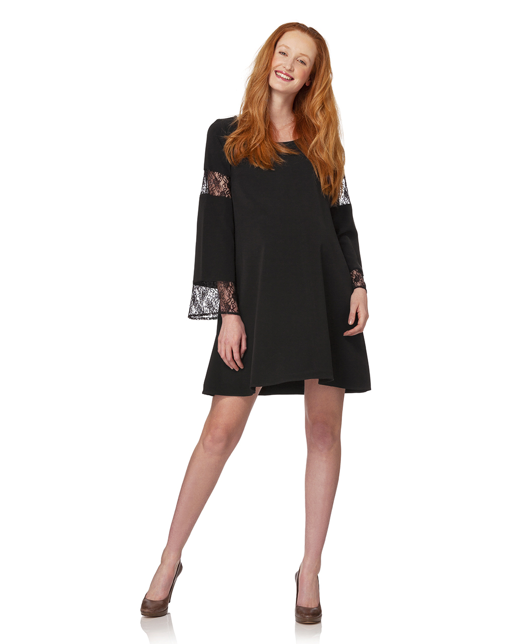 Γυναικείο Φόρεμα Μαύρο με Ένθετα Δαντέλας