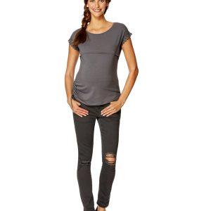 Γυναικείο T-Shirt Θηλασμού Με φερμουάρ Γκρι