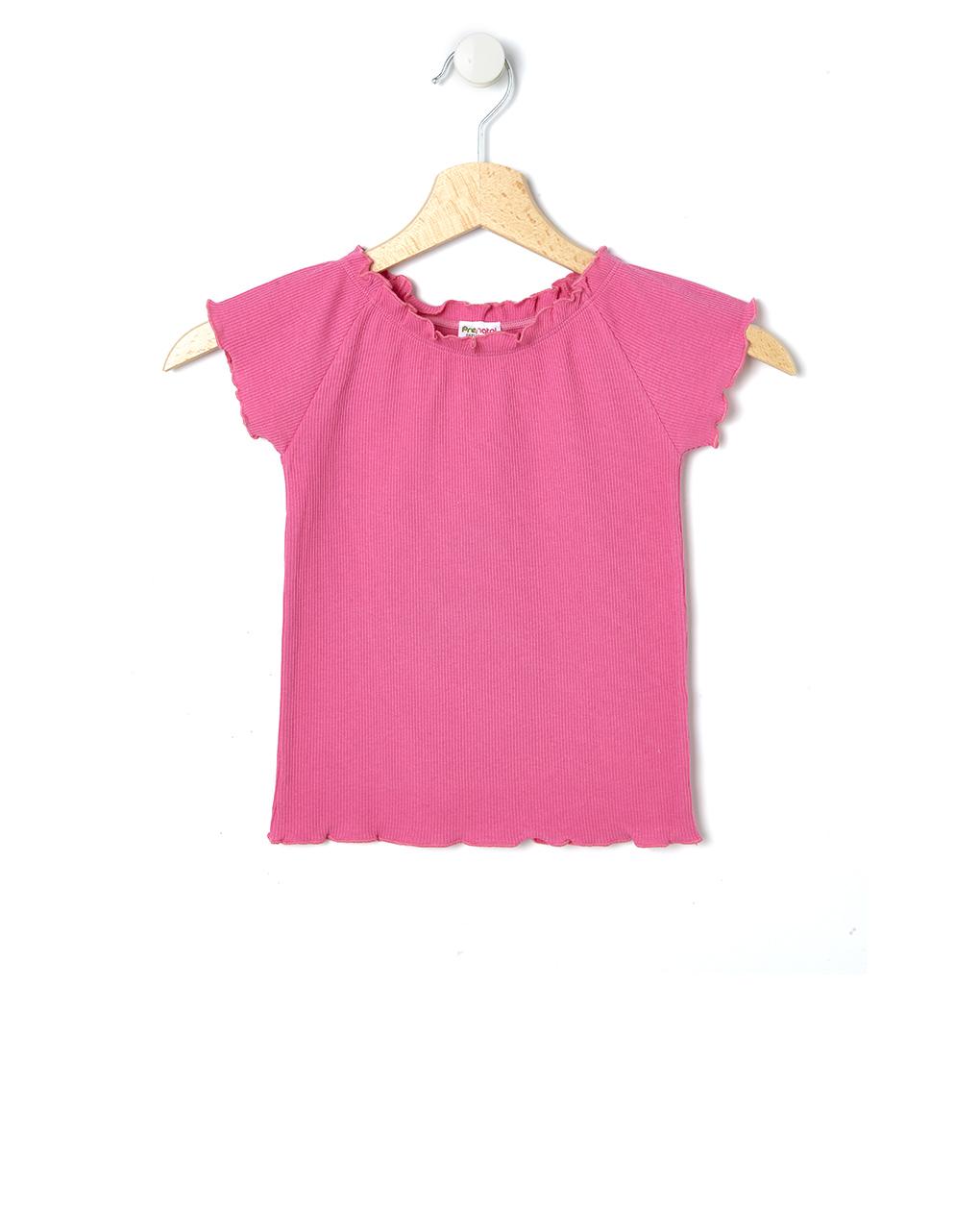 T-Shirt με Ριγωτή Ύφανση Φούξια για Κορίτσι