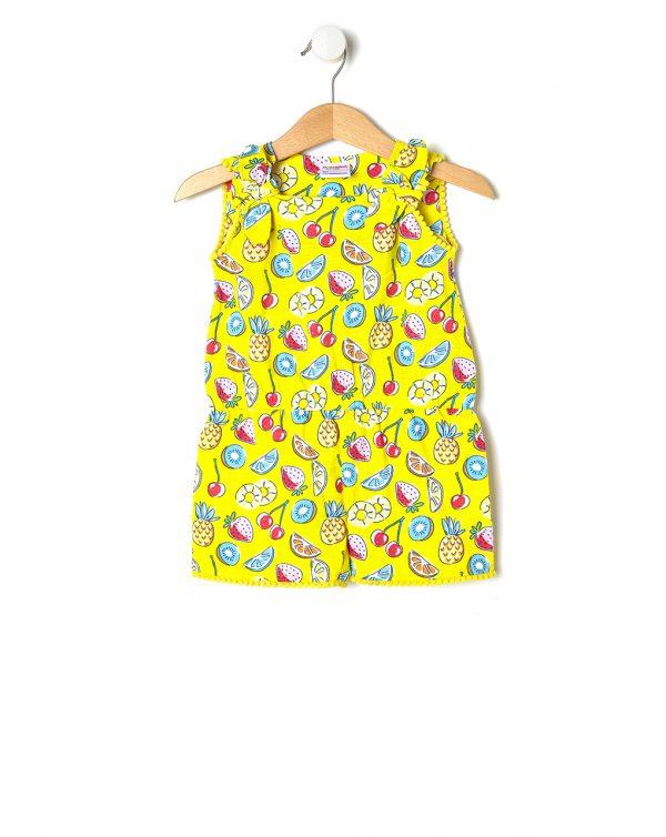 Ολόσωμη Φόρμα Jersey Basic Κίτρινη με Φρούτα για Κορίτσι