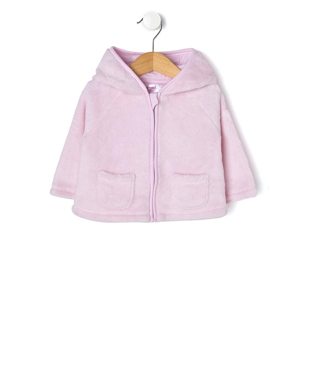 Ζακέτα από ροζ γούνα με κουκούλα