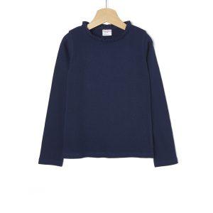 T-shirt Jersey με Ριγωτή Ύφανση Μπλε για Κορίτσι