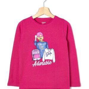 T-shirt Jersey με Στάμπα Glitter για Κορίτσι
