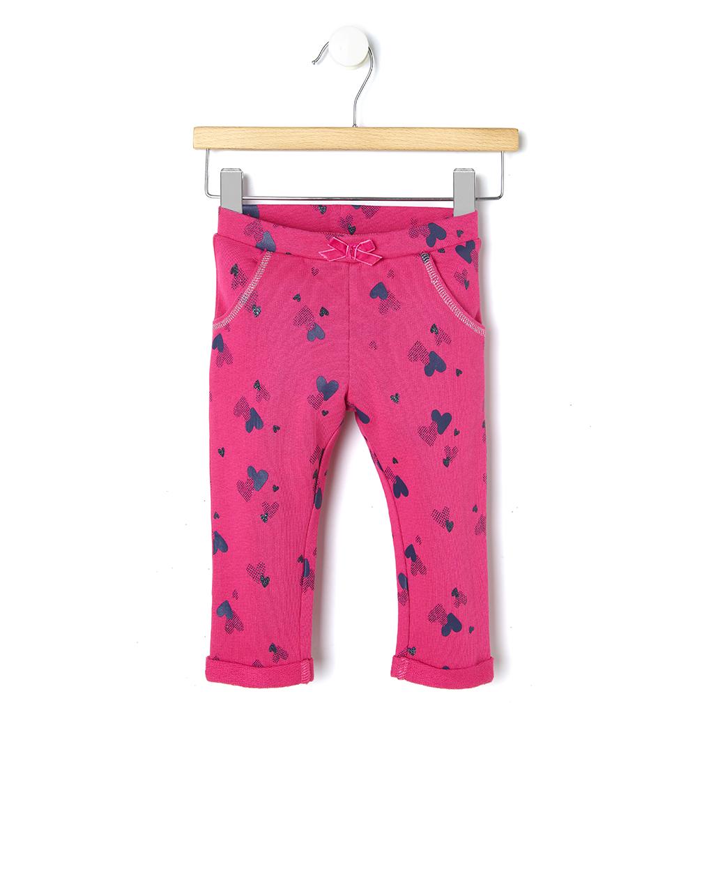 Παντελόνι Φόρμας Φούξια με Καρδούλες για Κορίτσι