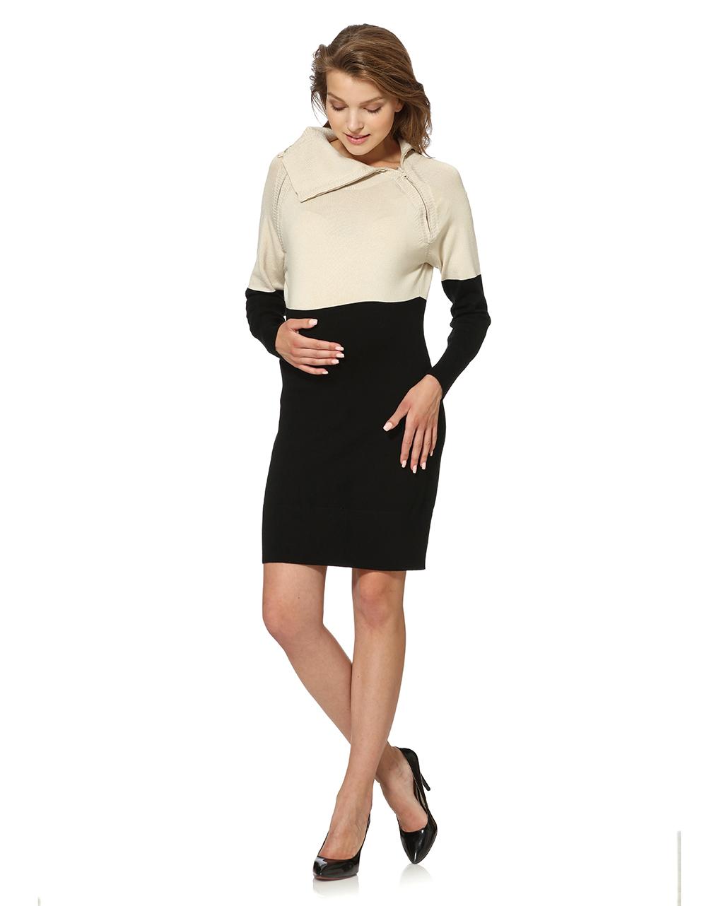Γυναικείο Μπλουζοφόρεμα Πλεκτό Λευκό-Μαύρο