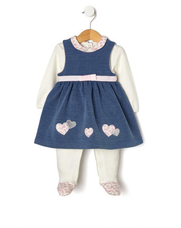 Σετ Φορμάκι-Φόρεμα Αμάνικο με Εφέ Denim για Κορίτσι