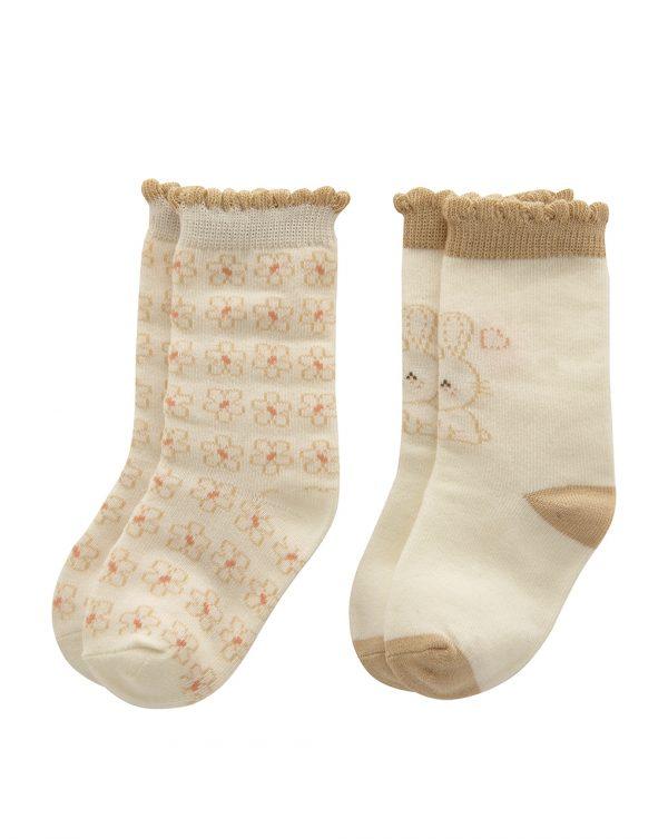 Κάλτσες Οργανικό Βαμβάκι Πακέτο Χ2 Ζευγάρια για Κορίτσι