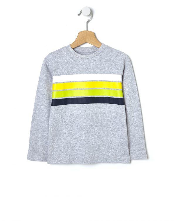 T-shirt Jersey Ριγέ Γκρι για Αγόρι