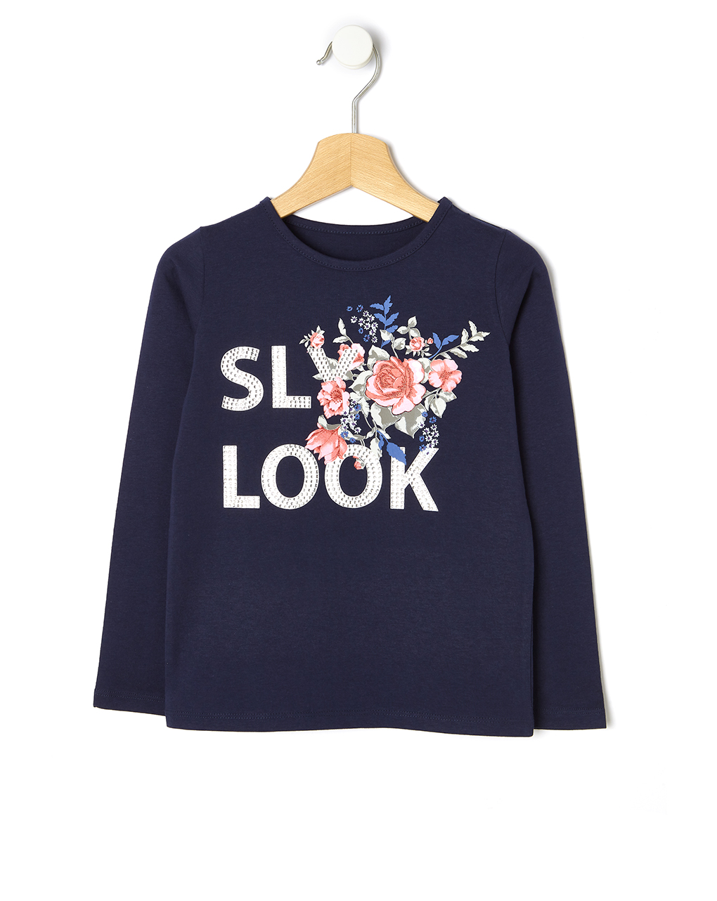 T-shirt Jersey Μπλε με Στάμπα για Κορίτσι
