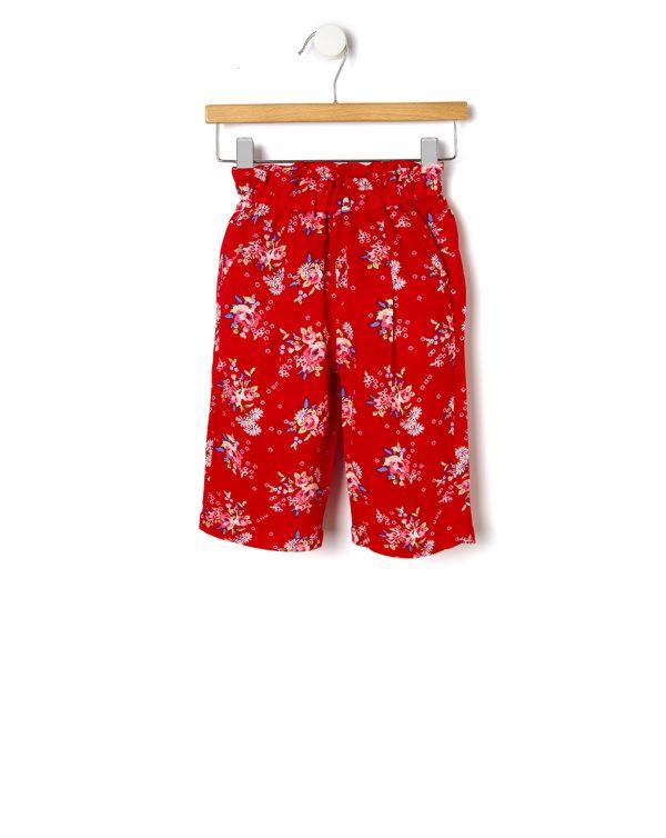 Παντελόνι Βισκόζη Κόκκινο με Λουλούδια για Κορίτσι