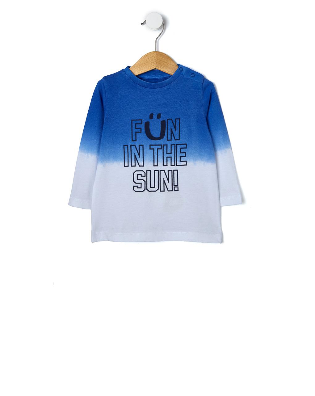 T-shirt Δίχρωμο με Στάμπα για Αγόρι