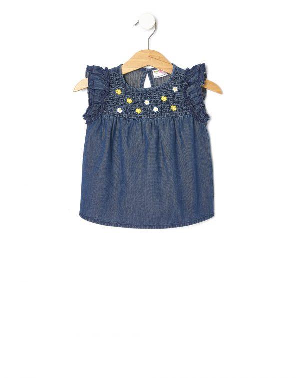 T-Shirt Chambray με Λουλουδάκια για Κορίτσι
