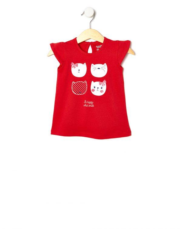 T-Shirt Jersey Κόκκινο με Στάμπα Γατούλες για Κορίτσι