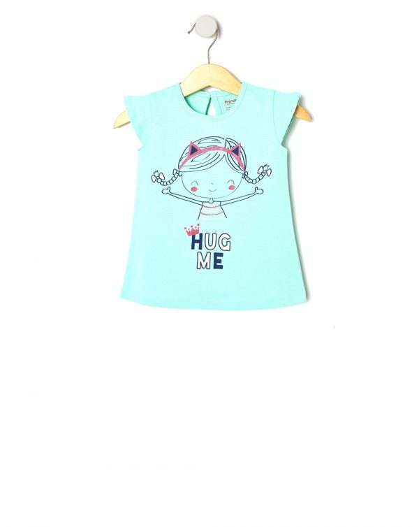 T-Shirt Jersey με Στάμπα Κοριτσάκι για Κορίτσι