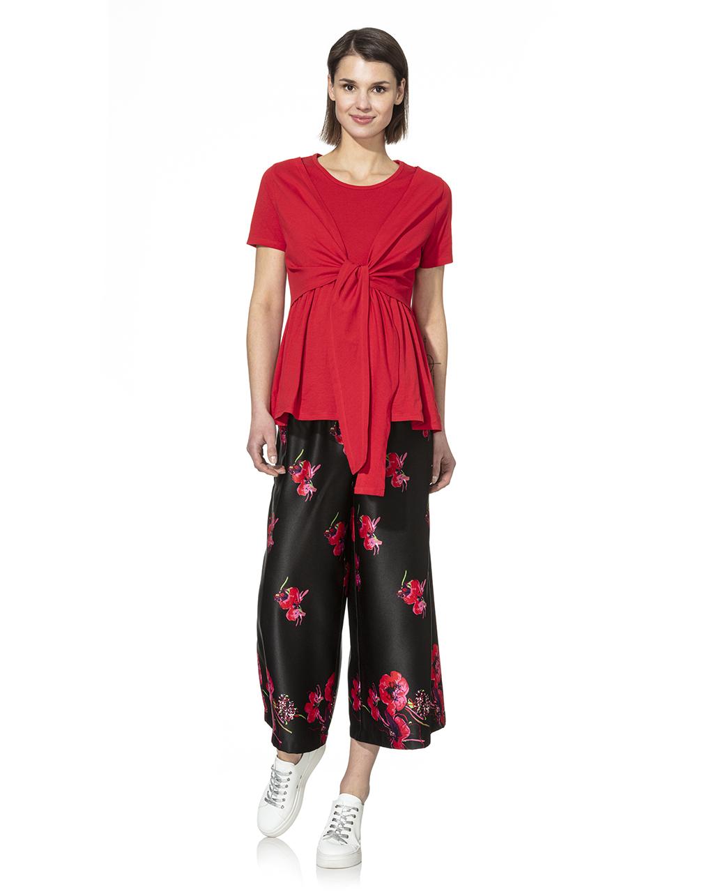 Γυναικείο Παντελόνι Μαύρο με Λουλούδια