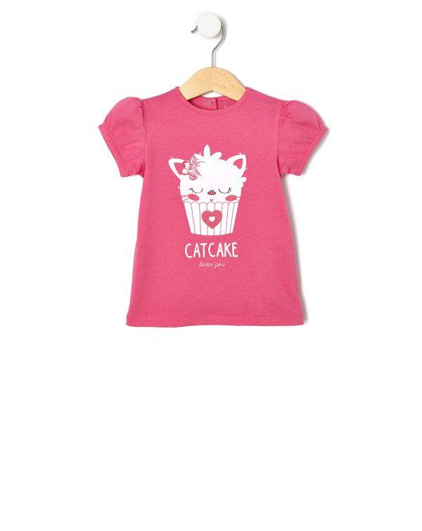 T-Shirt Φούξια με Στάμπα Glitter για Κορίτσι