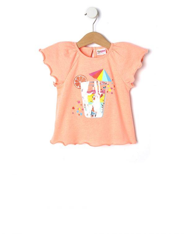 T-Shirt Πορτοκαλί με Στάμπα για Κορίτσι