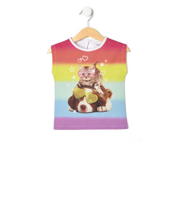 T-Shirt Αμάνικο Πολύχρωμο με Στάμπα για Κορίτσι