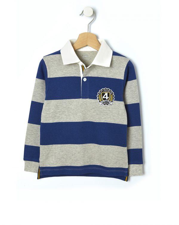 Μπλούζα Πόλο Rugby Ριγέ για Αγόρι