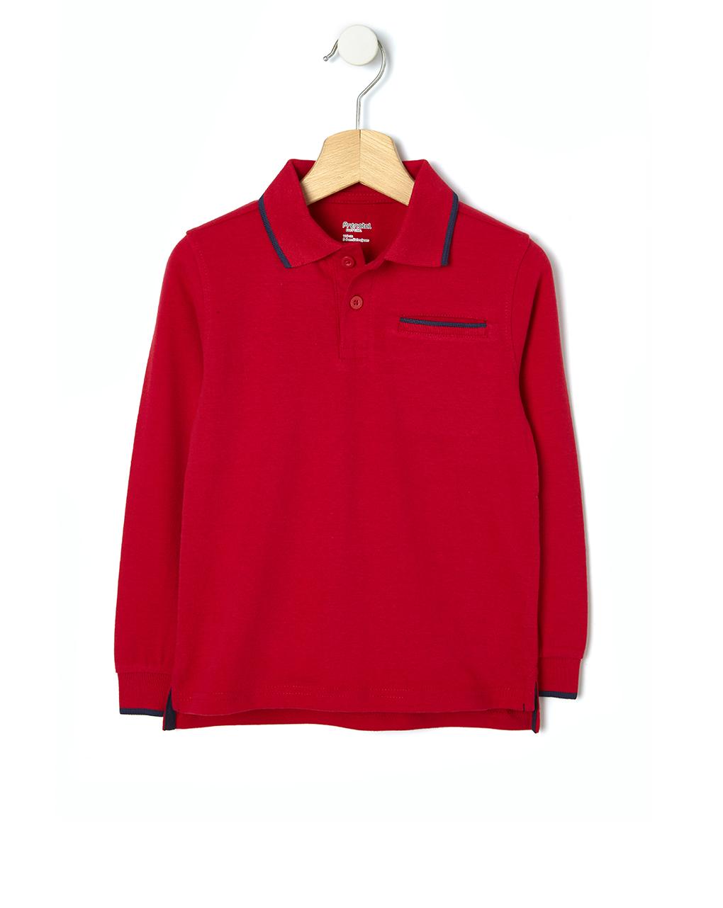 Μπλούζα Πόλο Jersey Basic Κόκκινο Μεγ.8-9/9-10 Ετών για Αγόρι