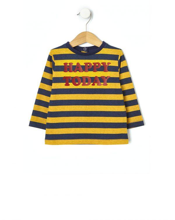 Μπλούζα με Στάμπα Ριγέ για Αγόρι