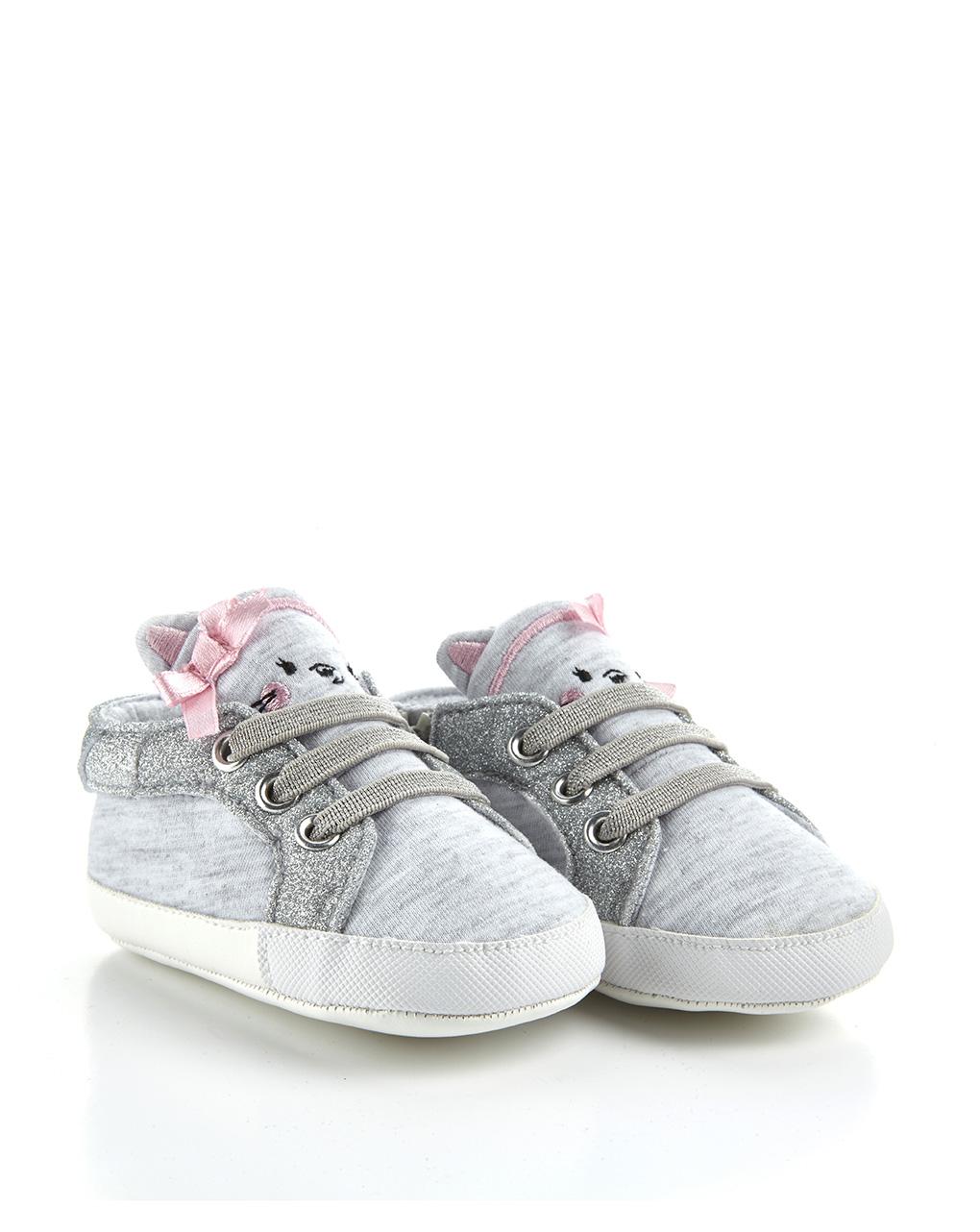 Βρεφικά Παπούτσια Αγκαλιάς Interlock Γκρι Mélange για Κορίτσι