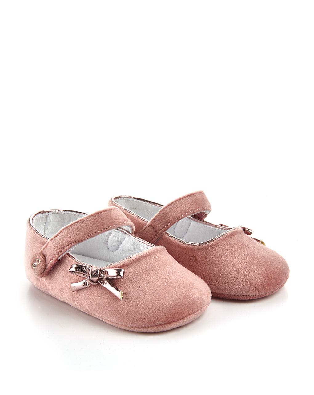 Βρεφικά Παπούτσια Αγκαλιάς Μπαλαρίνες Βελούδινες Ροζ με Φιογκάκι για Κορίτσι