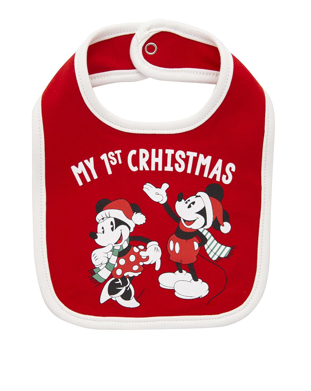 Χριστουγεννιάτικη σαλιάρα Minnie & Mickey κόκκινη
