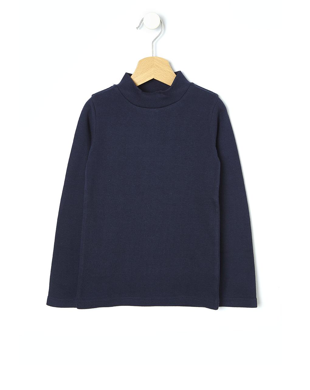 Μπλουζάκι basic με ψηλό γιακά μονόχρωμο