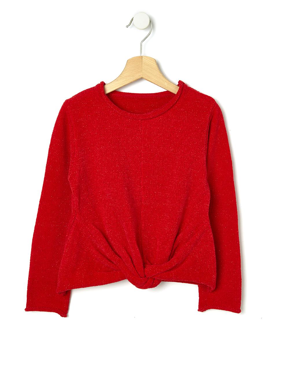 Πλεκτό μπλουζάκι σενίλ με lurex για Κορίτσι