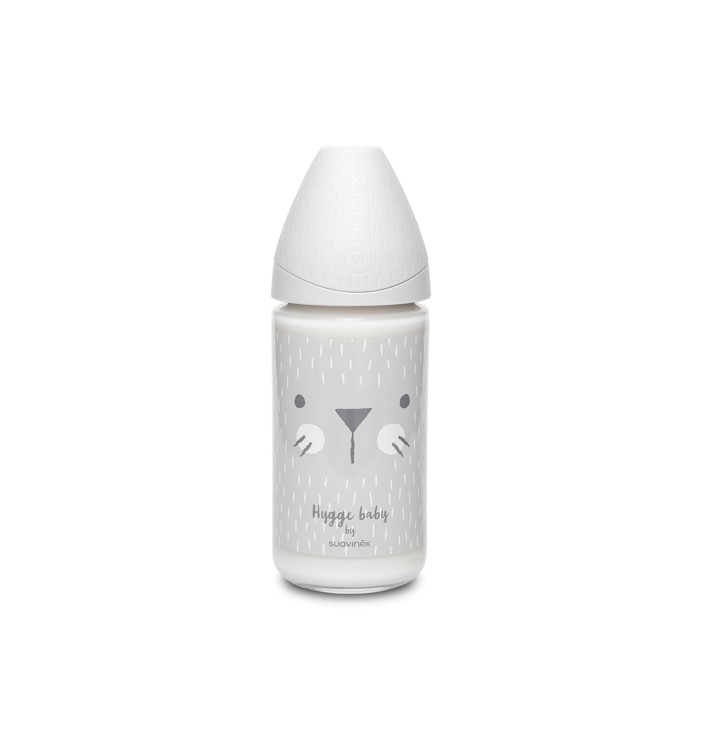 Mπιμπερό γυάλινο Hygge 240 ml Whiskers Grey