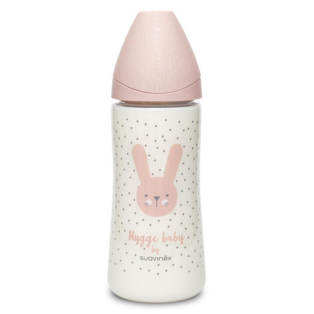 Mπιμπερό πλαστικό με θηλή σιλικόνης 360 ml Rabbit Pink