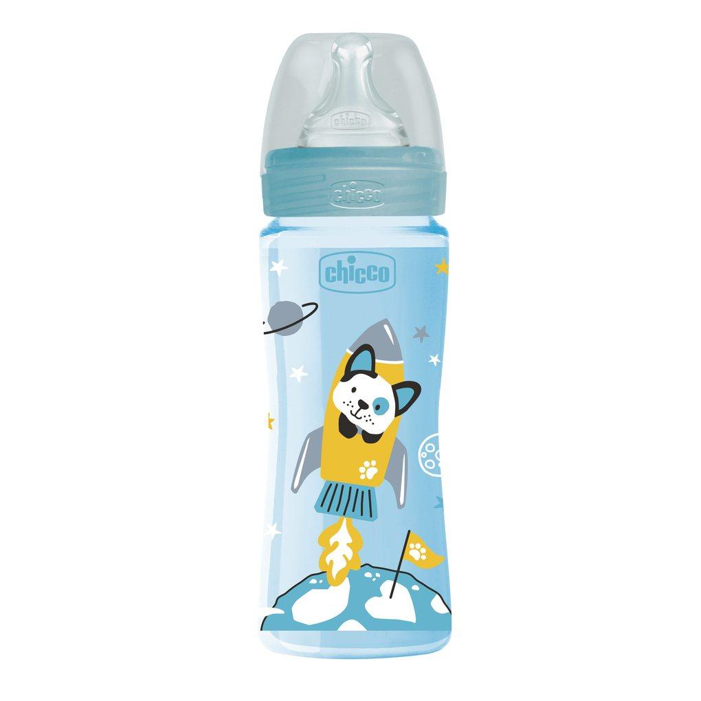Μπιμπερό Πλαστικό Well Being Σιέλ 330 ml