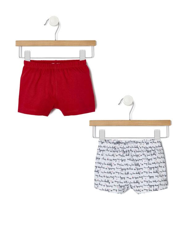 Pack 2 pantaloncini corti rossi e bianchi Daddy is my hero - Prénatal
