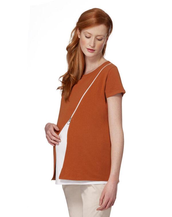 T-shirt mezza manica con zip - Prénatal