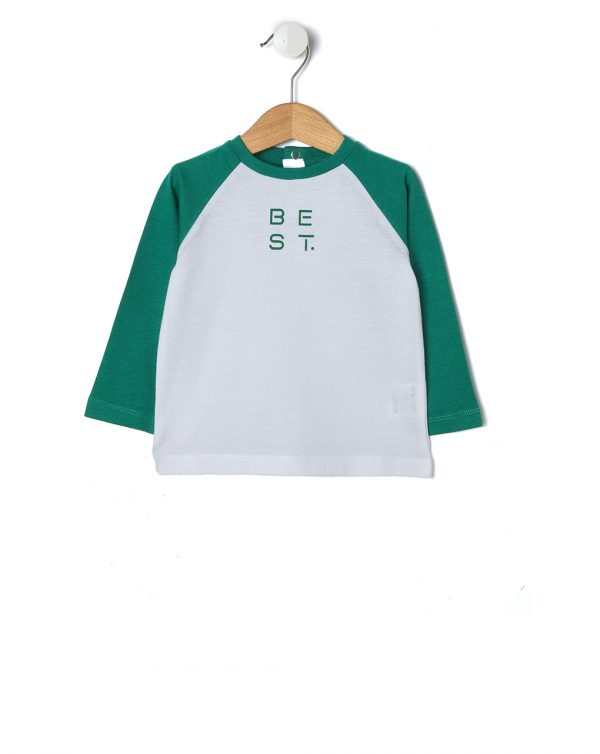 T-shirt panna con maniche verdi - Prénatal