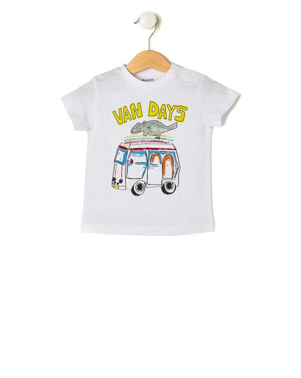 T-shirt bianca con stampa Van days - Prénatal