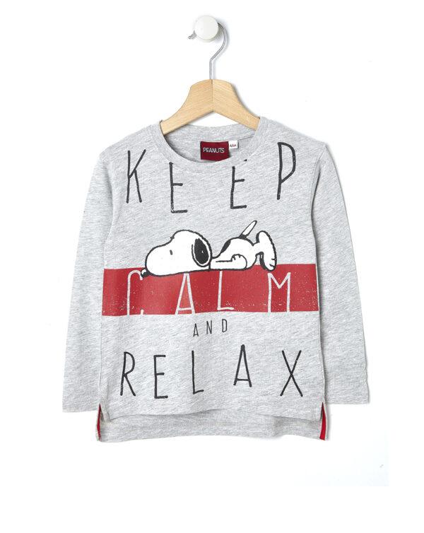 T-shirt grigio chiaro mélange con stampa Snoopy - Prénatal