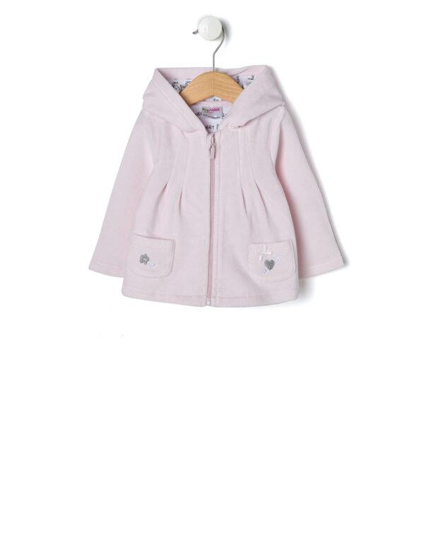 Cardigan in ciniglia rosa con tasche e cappuccio - Prénatal