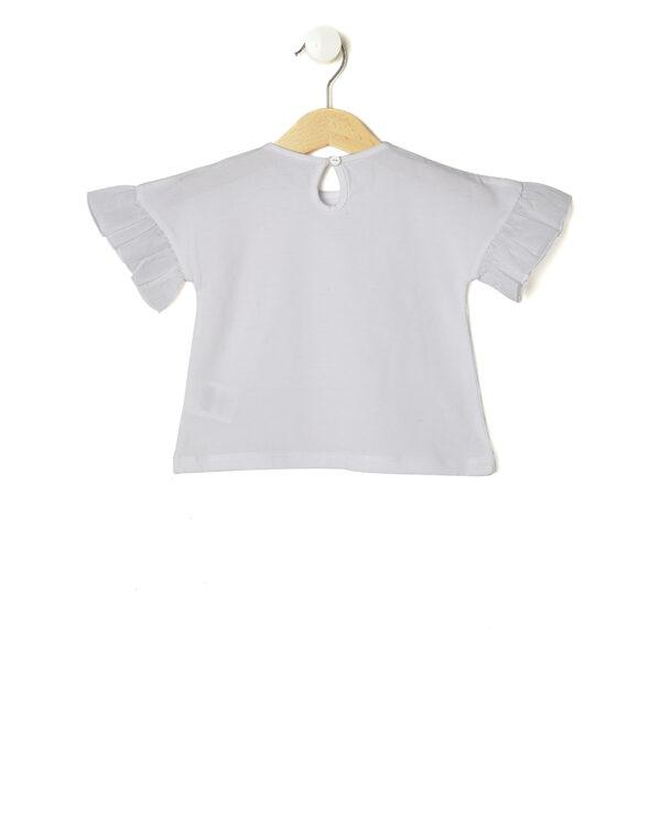 T-shirt bianca con grande rosa glitter e paillettes - Prénatal