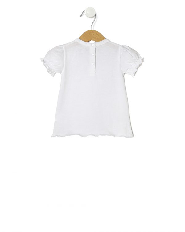 T-shirt bianca con maniche a sbuffo - Prénatal