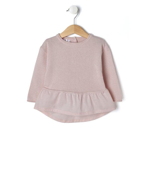 Maglia in tricot rosa con balza - Prénatal