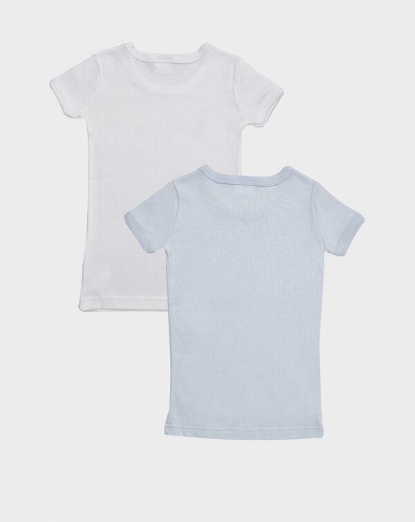 Pack 2 t-shirt mezze maniche in cotone felpato azzurro e bianco - Prénatal