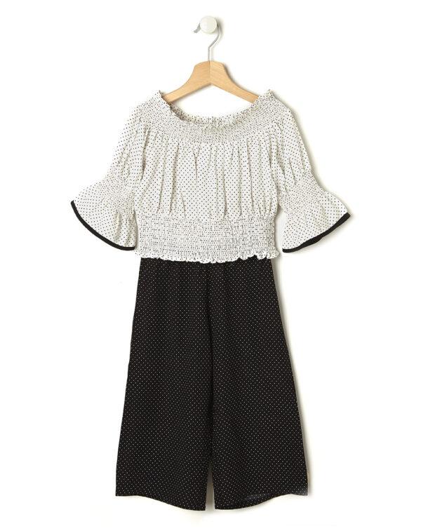 Set elegante con maglia punto smock e pantaloni a pois - Prénatal