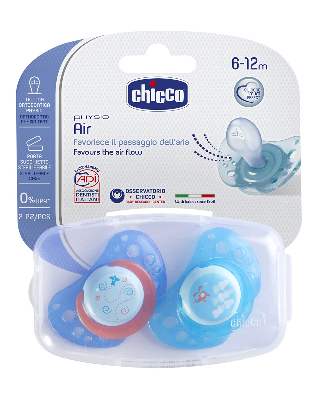 Succhietto air silicone boy 6-12m (2pz) - Chicco