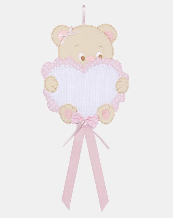 Fiocco nascita cuore tela aida bimba - Prénatal