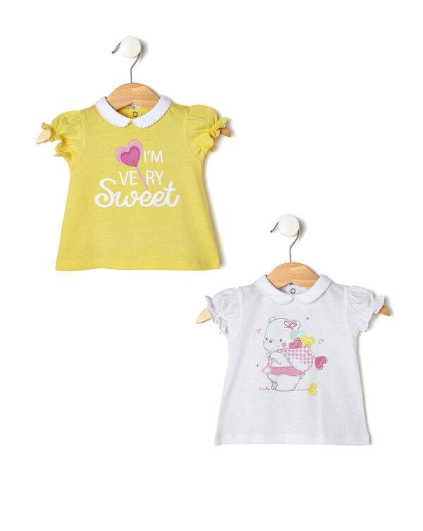 Pack 2 t-shirt con maniche arricciate e colletto - Prénatal