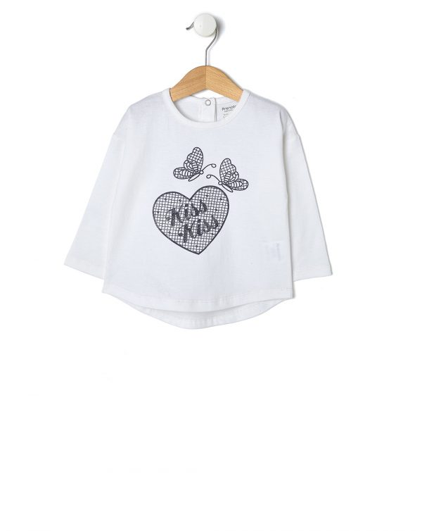 T-shirt bianca con cuore e farfalle glitter - Prénatal